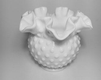 Fenton Milk Glass Hobnail Ruffled Edge Vase