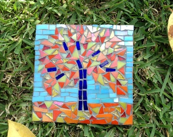 Mosaic Autumn Leaves Falling From Tree