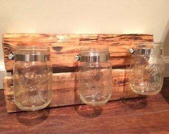 Rustic Mason Jar Organizer Wall Decor