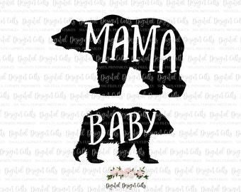 Mama Bear Baby Bear SVG, png, Cutting File, Mama Bear Baby Bear design, Mama Bear T-shirt, Baby Bear Onesie, Mama Bear Clipart, Baby Bear