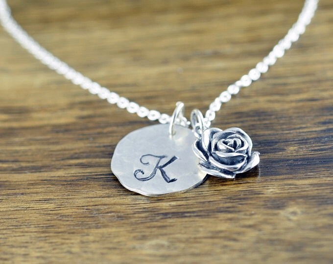 Rose Necklace, Initial Necklace, Hand Stamped, Personalized, Monogram - Rose Flower Necklace - Flower Jewelry -