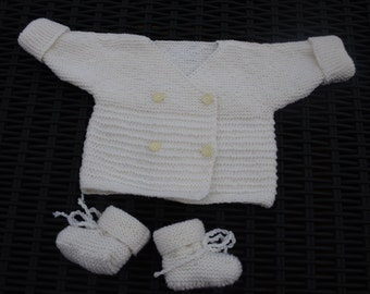 Set ecru jacket and slippers size 3 months
