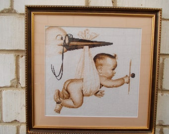 """Handmade cross stitch picture """"Stork with a baby"""""""