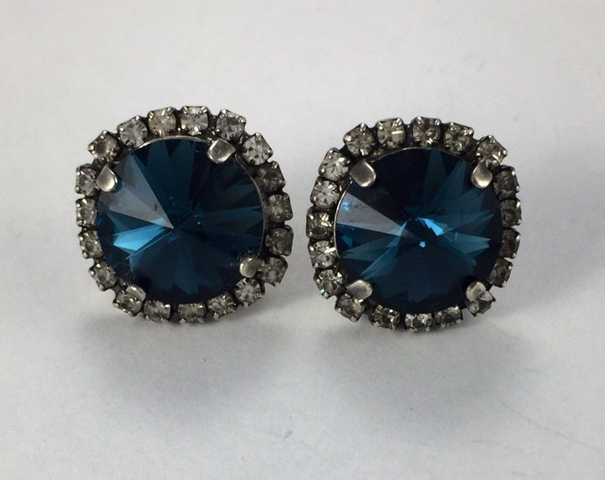 Bohemian Blue Genuine Swarovski® Crystal Montana sapphire Blue Stud Earrings With A Halo of Crystals. Stunning Fashion Jewelry!
