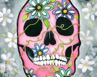Sugar Skull Art, Skull, Day of the Dead, Skull Wall Art, Skull Home Decor, Abstract Wall Art, Abstract Skull Art, Skull Art, Gifts for her