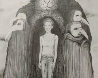 original art-illustration-drawing-art-graphite pencil drawing-surrealism.fine art.