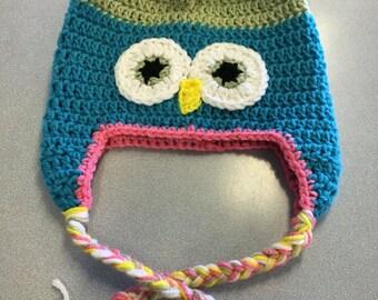 Childs Owl Beanie, hand crocheted