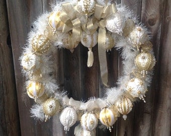 Classy, Simple, Elegant Gold and White Ornament Christmas Wreath