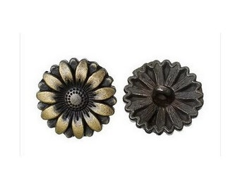 6 bronze round buttons 1.7 cm scrapbooking sewing flower TOUNESOL