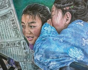 Original colored pencil- Tibetian girls