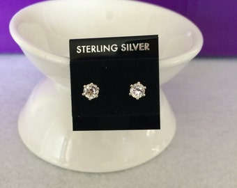 White Topaz 4 mm and Sterling Silver Stud Earrings