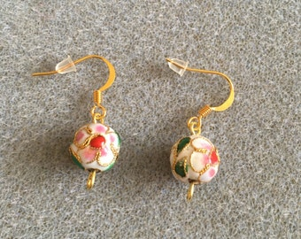 White cloisonné earrings
