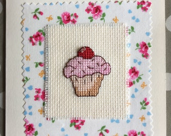 Handmade greeting card with cross stitched cupcake detail. Blank inside for your own message.
