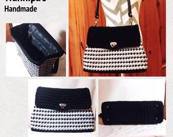 Handmade, crocheted handbag.