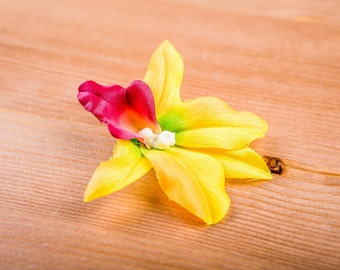 Orchid phalaenopsis flower hair clip / Barrette / marriage / Tropical / pin-up yellow