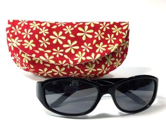 Red sunglass or eyeglass case floral sunglasses case mini clutch eyeglass holder case for sunglasses case for glasses case for eyeglasses