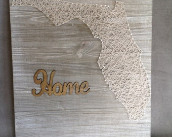 Whitewashed Florida String Art Sign