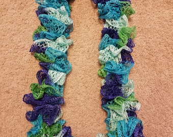 Ruffled scarf Multi color cool tones