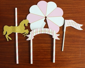 Pink Carrousel / Carousel Set Cake Toppers/Party Decorations