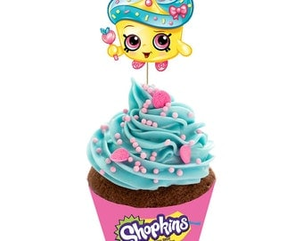 Shopkins Themed Cupcake Wrappers and Toppers. Downloadable and Printable Shopkins Cupcake Wrappers and Toppers Birthday Party Decoration.