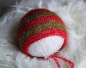 Green and Red Bonnet, Striped Christmas Bonnet,