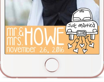 Just Married Personalized Wedding Geofilter