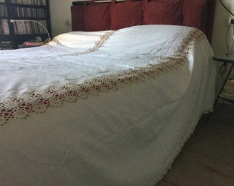 Canvas and crochet bedspread