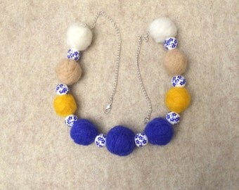 sale - marked down from 22.00 - Felted bead necklace