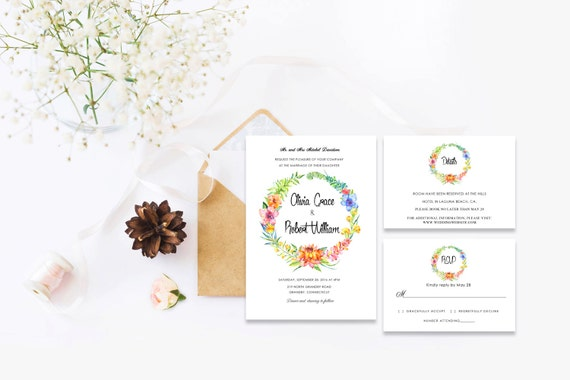 Floral wedding invite word_23,INSTANT DOWNLOAD, Editable Wedding template invitation. Microsoft Word template.Wedding Printable