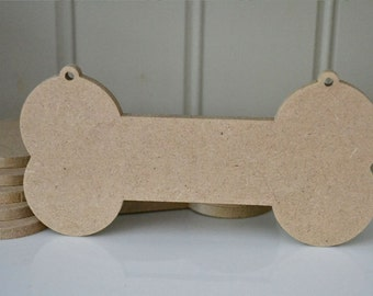 Pack of 3 BONE shaped MDF wooden plaques dog plaque idea with hanging holes 175x88x6mm