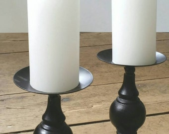 Pair of Black Primitive Metal and Wood Candlesticks. Black Candlestick. Pillar Candlesticks.  Black Farmhouse Candlesticks.