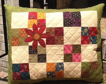 Kit; Lovely quilted pillow with wool flower//special price!//home decor
