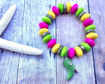 Cowgirl boot, bracelet, pink, green, yellow, summer