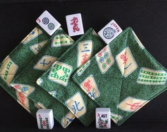 Set of 4 Mah Jongg Quilted Fabric Coasters,  Mah Jong Novelty, Mah Jongg Coasters, Mah Jongg Gift, Mah Jongg Fun, MahJong, Mah Jongg Game