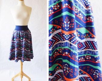 SALE Size MEDIUM Women's Skirt Patchwork print Market Skirt Full Aline Skirt stretch Cotton Jersey Swing Skirt knee length twirl skirt