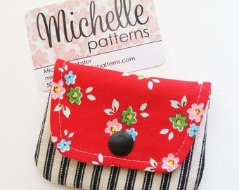 Business Card Case | Floral Fabric Mini Wallet  | Gift Card Pouch | Coin Purse Change Pouch