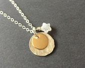 My Wish For You, Rainbow Moonstone, 14k Gold Fill, Sterling Silver Charm Necklace, Mixed Metals, erinelizabeth