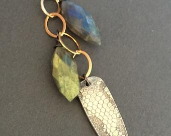 Snakeskin, Labradorite, 14k Gold Fill, Fine Silver, Oxidized Sterling Silver Gemstone Charm Necklace, erinelizabeth