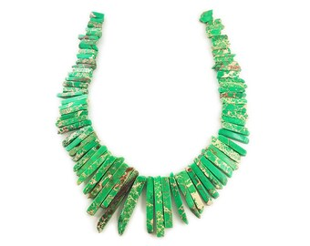 Green Imperial Jasper Graduated Sticks Gemstone Beads