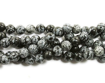 Snowflake Obsidian Round Gemstone Beads