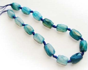 Sea Blue Faceted Barrel Agate Gemstone Beads