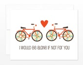 Bike Valentine's Day Card - True Love Greeting Card, Wedding Card, Anniversary, Cute Bicycle Card, Card for Boyfriend, Card for Husband