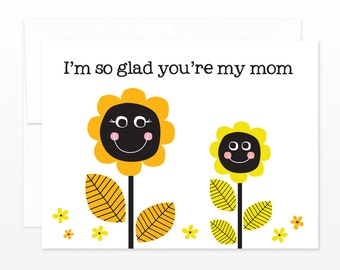 Sunflower Mom - Thinking of You, Birthday, Mother's Day Greeting Card