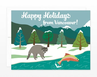 Funny Vancouver Christmas Card - Happy Holidays from Vancouver BC  - Westcoast holiday card, Vancouver Christmas, Vancouver Xmas Card