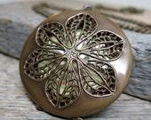 Endless Summer necklace ... antique brass filigree flower / picture locket / scent locket