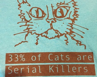 SALE XL Killer Cats Unisex shirt in Teal