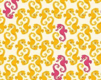 Mendocino Cream Yellow Seahorses Heather Ross cotton quilt fabric - fat quarter, mendocino fabric, heather ross fabric