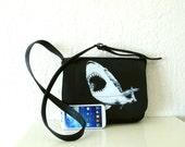 Shark Messenger Bag Black Leather