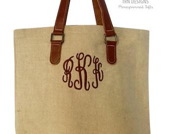 Monogrammed Burlap Jute Leather Handles Tote Shopper Purse Rustic Farmhouse Canvas