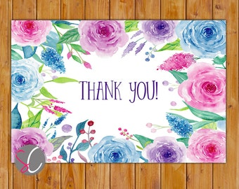 "Watercolor Roses Simple Birthday Thank You Flat Card 4""x6"" Digital Instant Download (551-ty)"